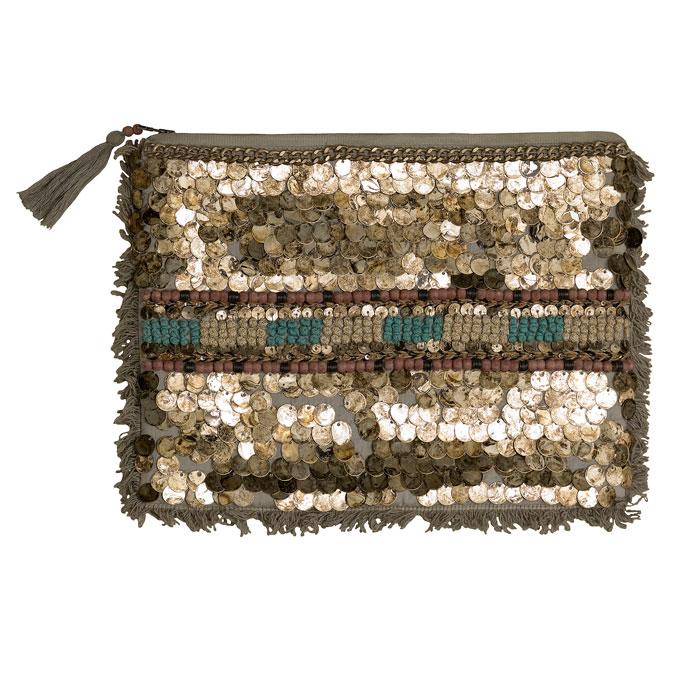 Zara 2012 - pochette marrone con frange