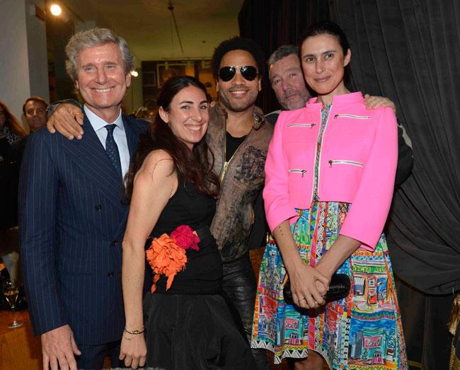 Fuori Salone 2012 - Claudio Luti, Lorenza Luti;Lenny Kravitz, Philippe Starck, Jasmine Starck