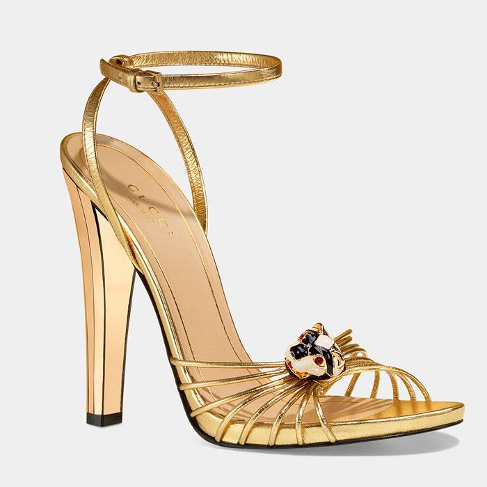 Sandali alti oro Gucci