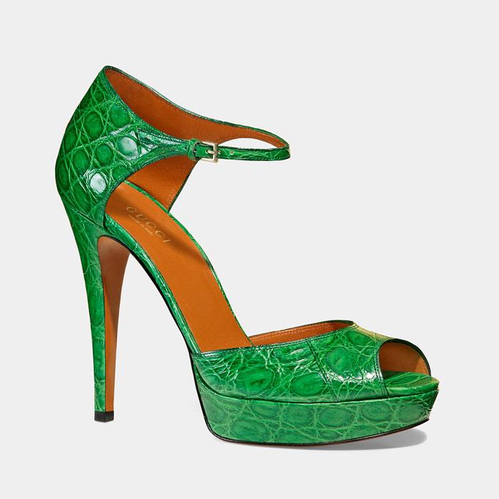 Sandali alti verdi Gucci