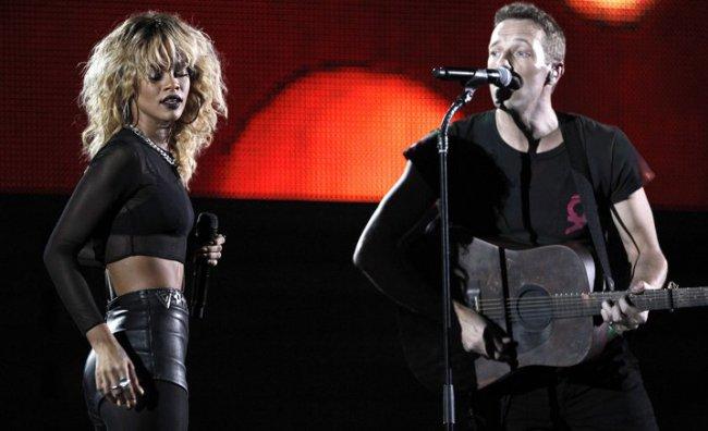 Rihanna con Chris Martin dei Coldplay