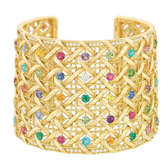 Manchette oro giallo 750/1000 My Dior, diamanti e pietre preziose.