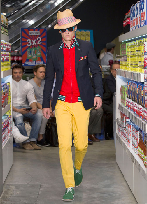 Giacca e pantaloni lunghi gialli Moschino uomo dd3cf7ab9aa