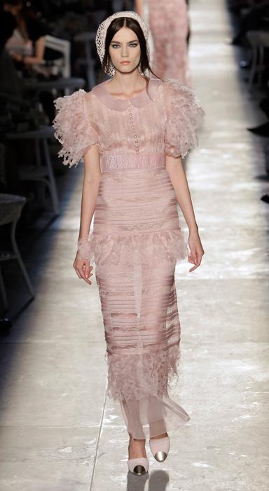 Abito rosa trasparente Chanel Haute Couture