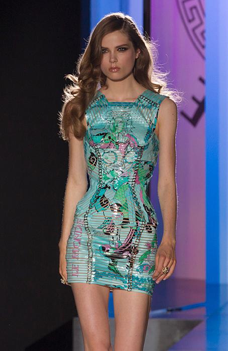 Mini abito azzurro stampa tarocchi Atelier Versace