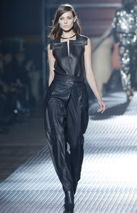 Lanvin - Gilet nero in pelle con pantalone lungo