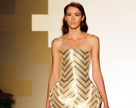 Mila Schon - Mini abito oro con gonna a palloncino