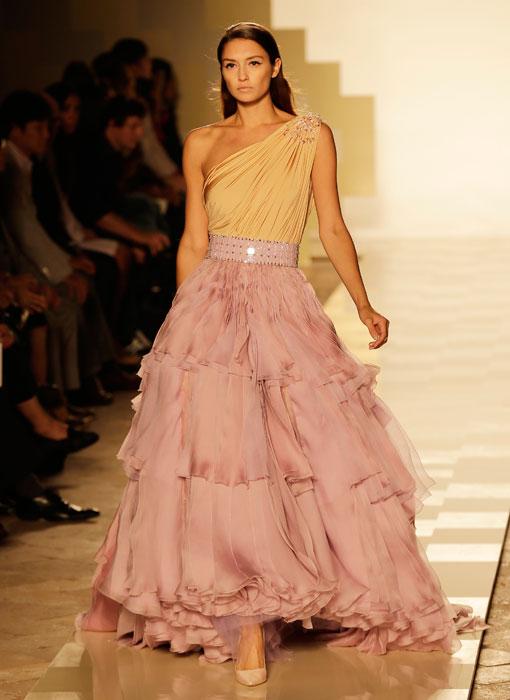 Mila Schon - Abito lungo arancio e rosa