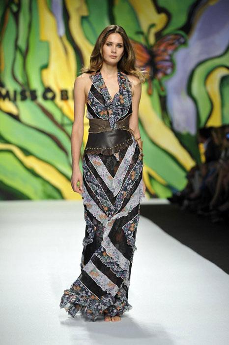 Miss Bikini Luxe - Abito lungo grigio con stampa fantasia