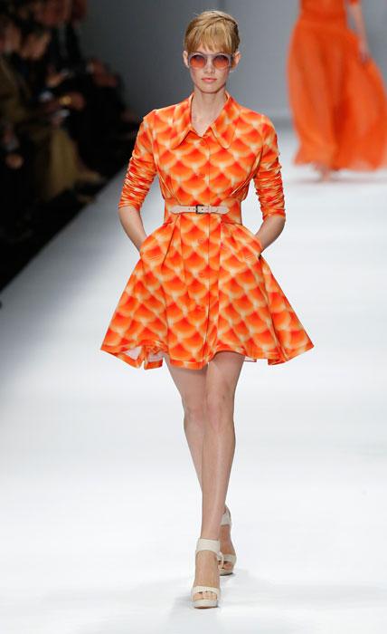 Cacharel - abito corto con gonna larga arancione