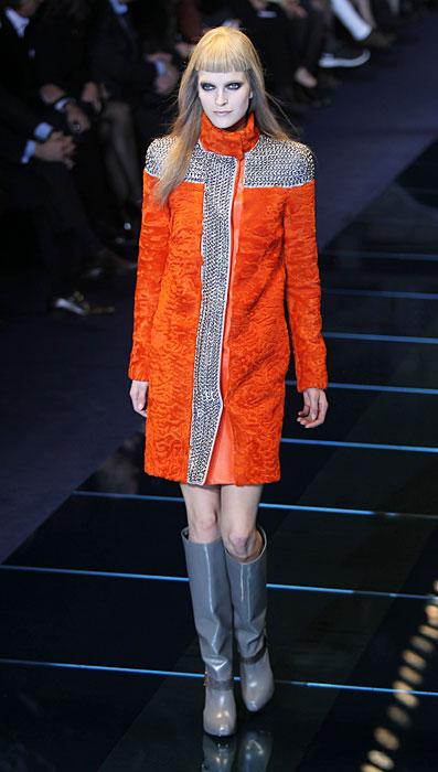 Pelliccia asrakan arancio Versace