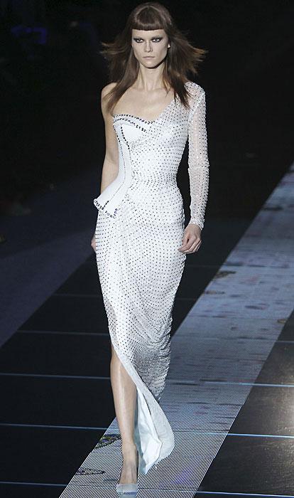 Abito bianco monospalla Versace