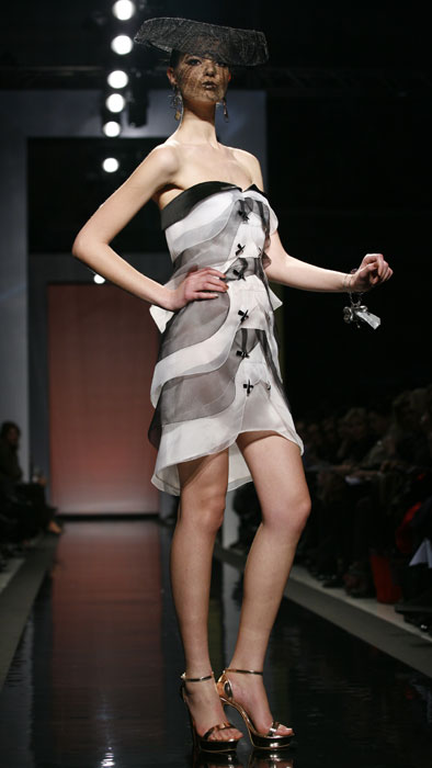 Minidress con volant optical Gattinoni