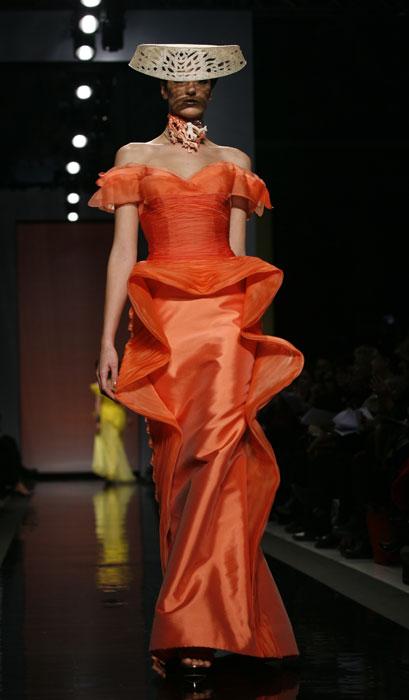 Abito lungo in chiffon arancione Gattinoni