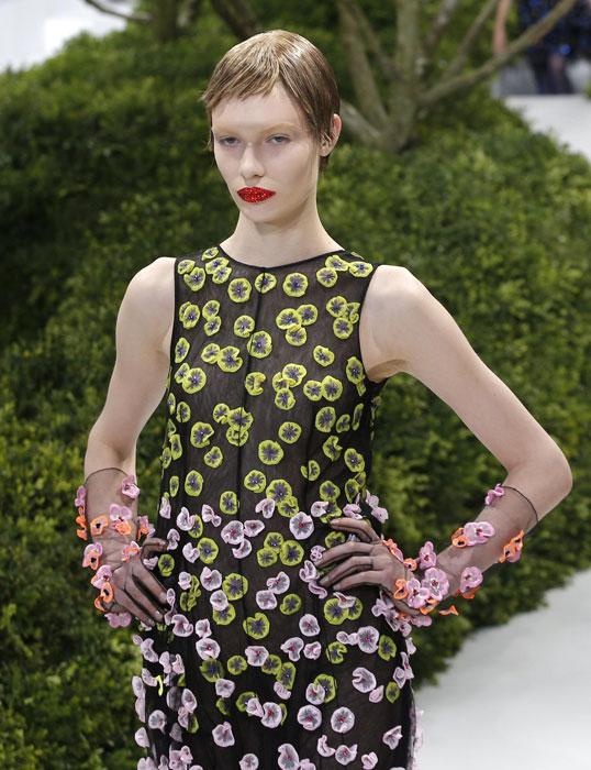 Abito a palloncino con applicazioni floreali Christian Dior