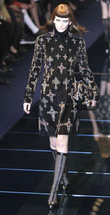 Cappotto in velluto con croci Versace