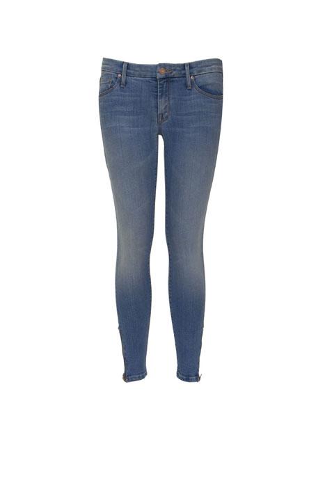 Jeans delavé elasticizzato in denim con cerniera alla caviglia Mother