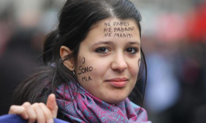 Donna manifestante
