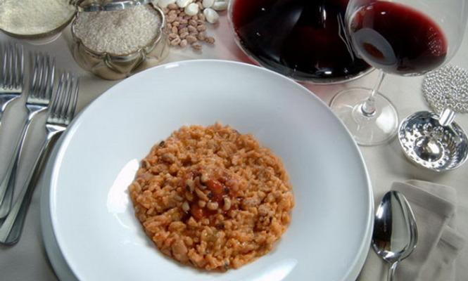 risotto, funghi, vino