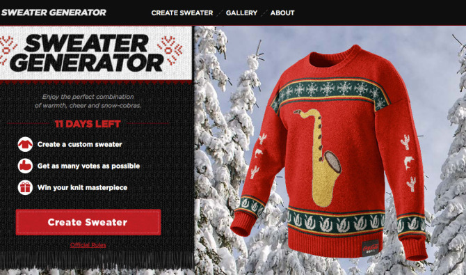 Coke Zero Sweater Generator homepage