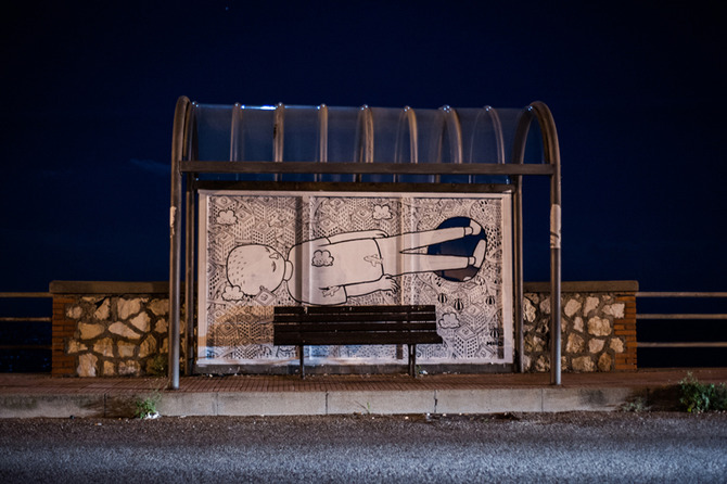 Inattesa - art at the bus stop by Millo