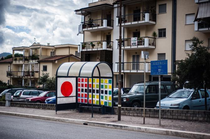 Inattesa - art at the bus stop by Pannaccio