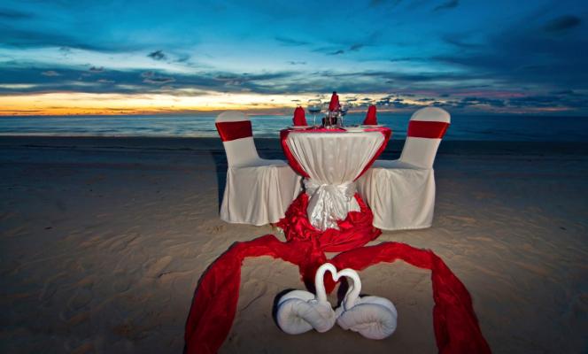 cena, mare, spiaggia, amore, San valentino