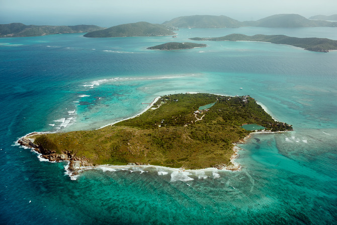 Bird's-eye-view of Necker Island and surrounds