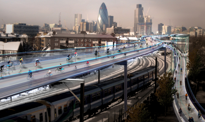 SkyCycle, una pista ciclabile nel cielo di Londra