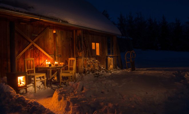 baita, notte, candele, neve, montagna