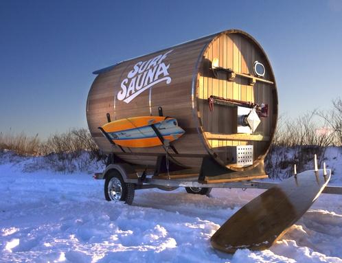 sauna portatile con rimorchio per surfisti