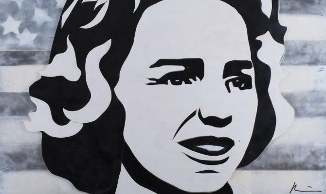 Ethel Skakel Kennedy, di Marcello Reboani, Legno, smalto, cm 120x100, 2013