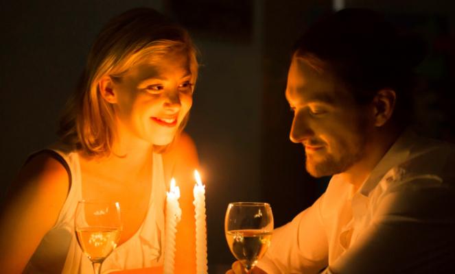 coppia, lume di candela, cena, candela