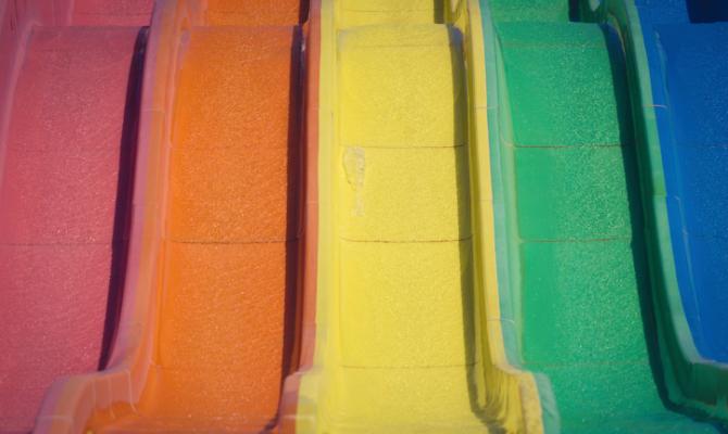 scivolo, colori, arcobaleno