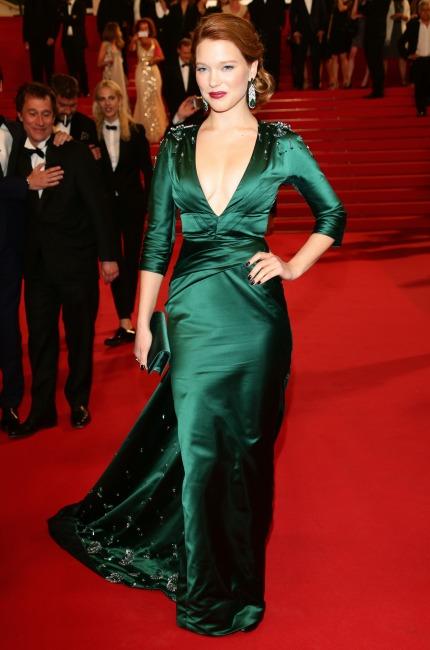 Léa Seydoux e il suo Cannes in seta verde