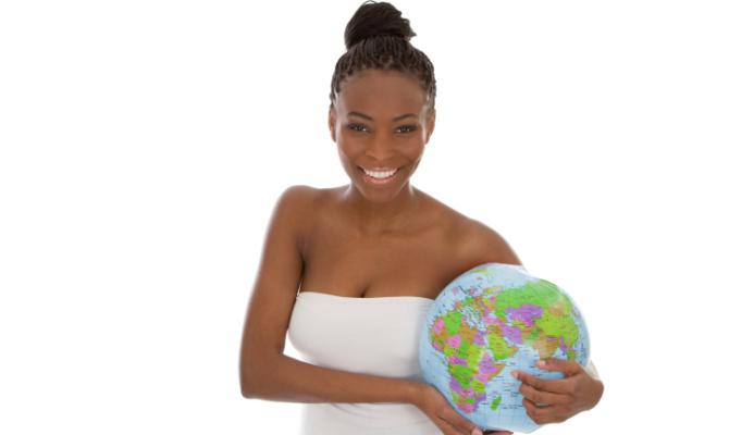 donna, mondo, mappamondo