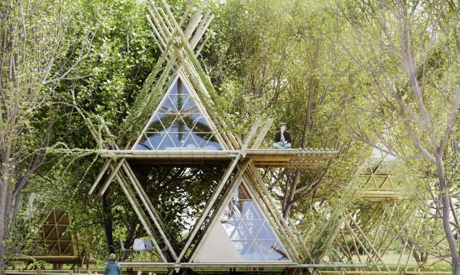 Il glamping è eco: le 'tende' in bambù