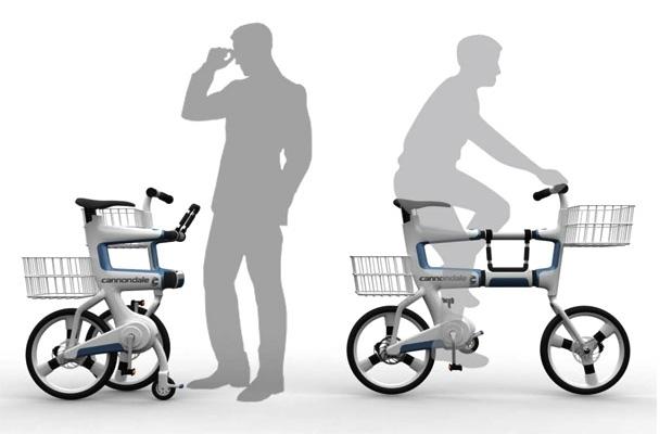Bicicletta che si trasforma in carrello della spesa