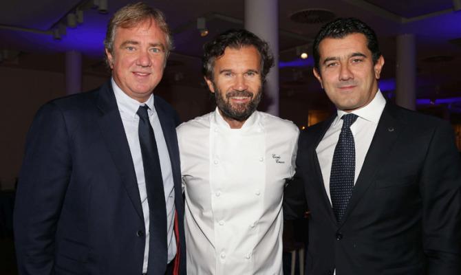 Chef Carlo Cracco con l'Executive Chairman Msc, Pierfrancesco Vago e il CEO, Gianni Onorato