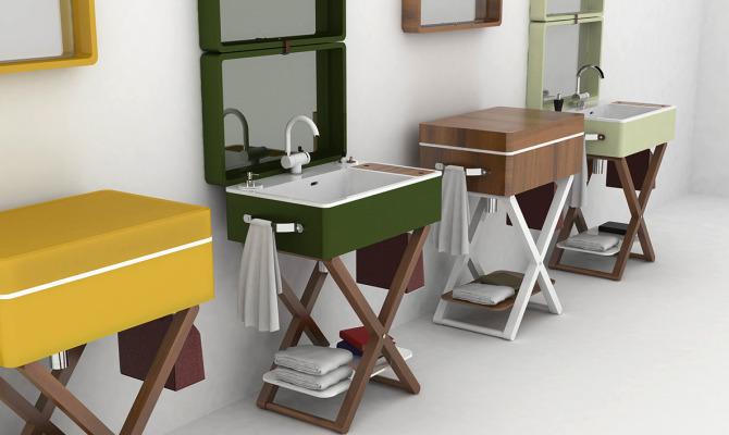 lavabo olympia ceramica, lavabo in valigia, trasformabile