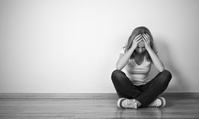 depressione, donna, donna seduta