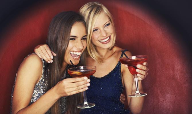 amiche, coppia, donne, drink