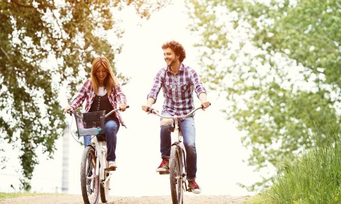 parco, bici, coppia, pedalare