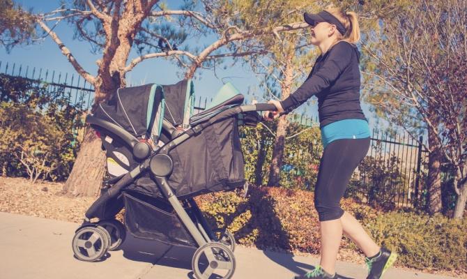 passeggino, mamma, sport, bebe, figlio