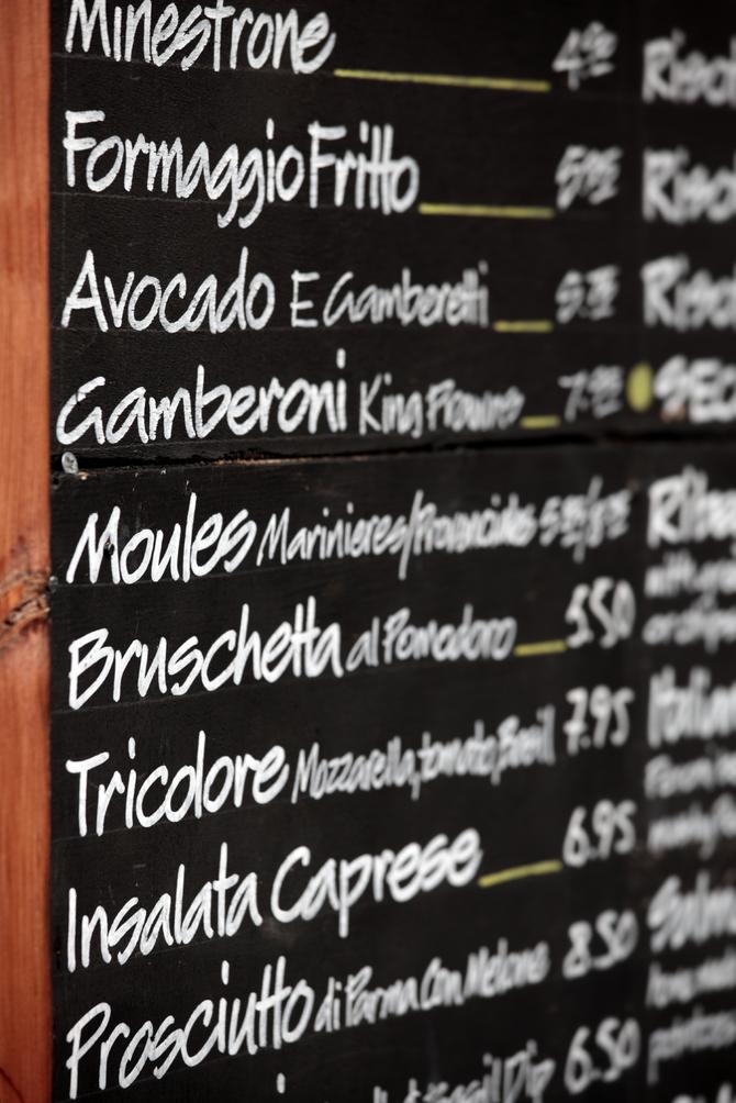 Menu ristorante italiano