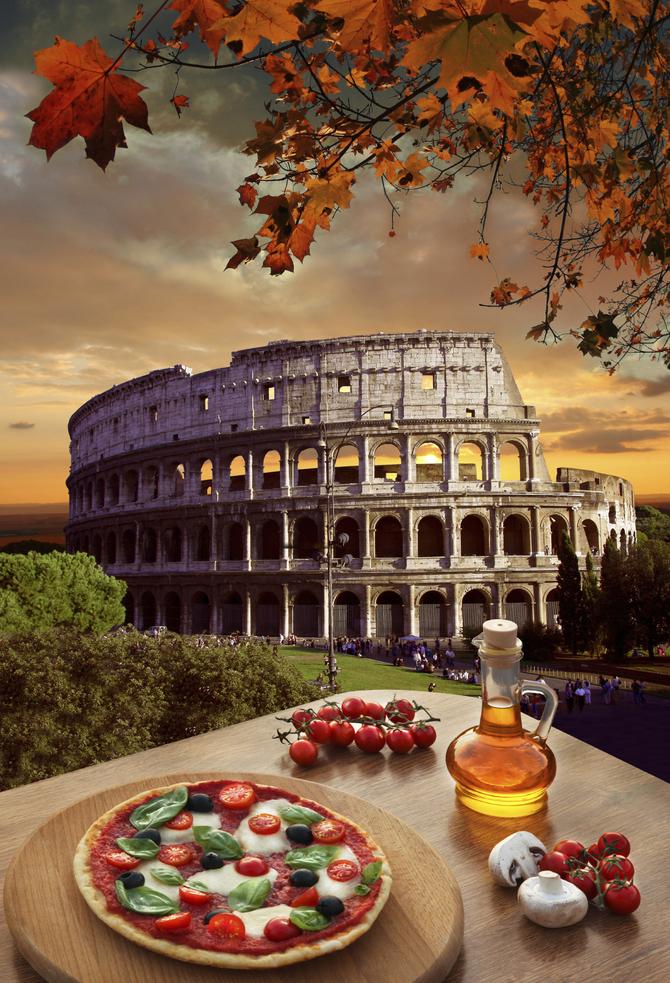 Pizza romana e Colosseo