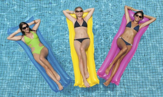divertimento, colori, piscina, donne