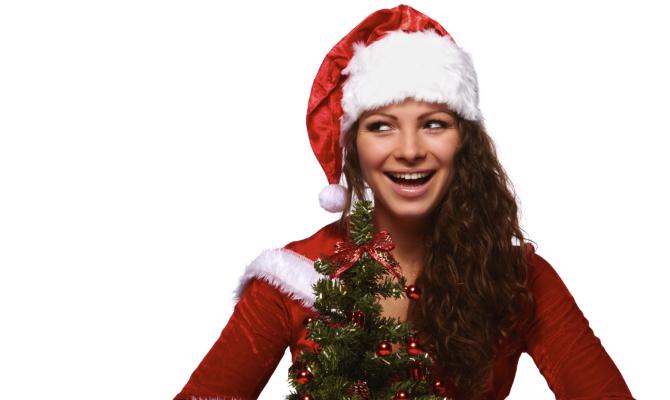 Ragazza con albero di Natale