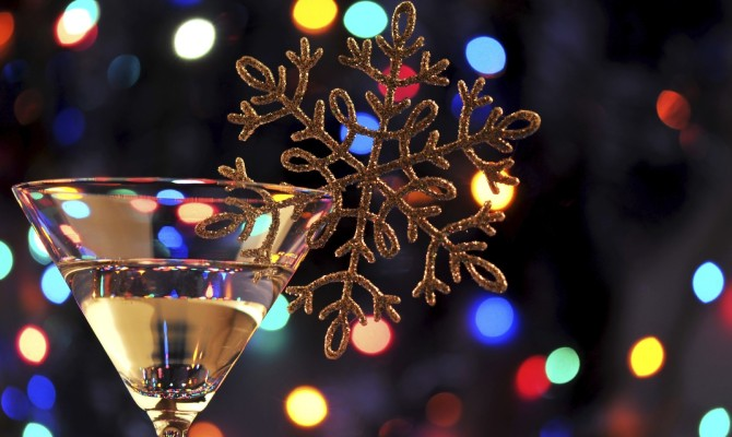 Natale, cocktail, fiocco di neve