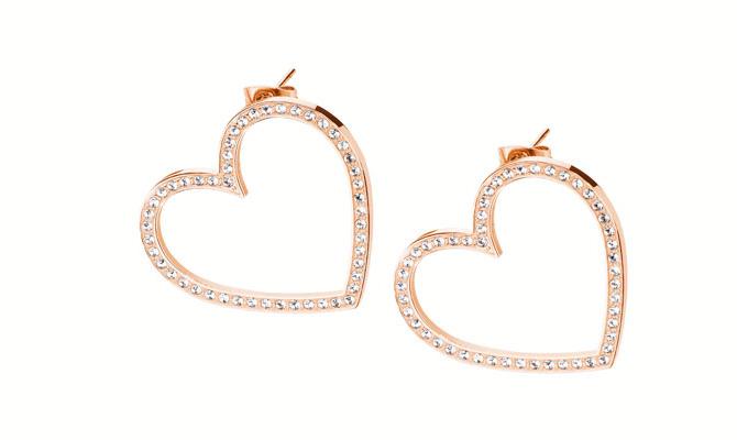 Orecchini in acciaio 316L e pvd oro rosa a forma di cuore con cristalli Swarovski Elements